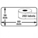1 rouleau etiquettes Seiko DYMO 99012 compatibles labels writer roll 36mm X 89mm