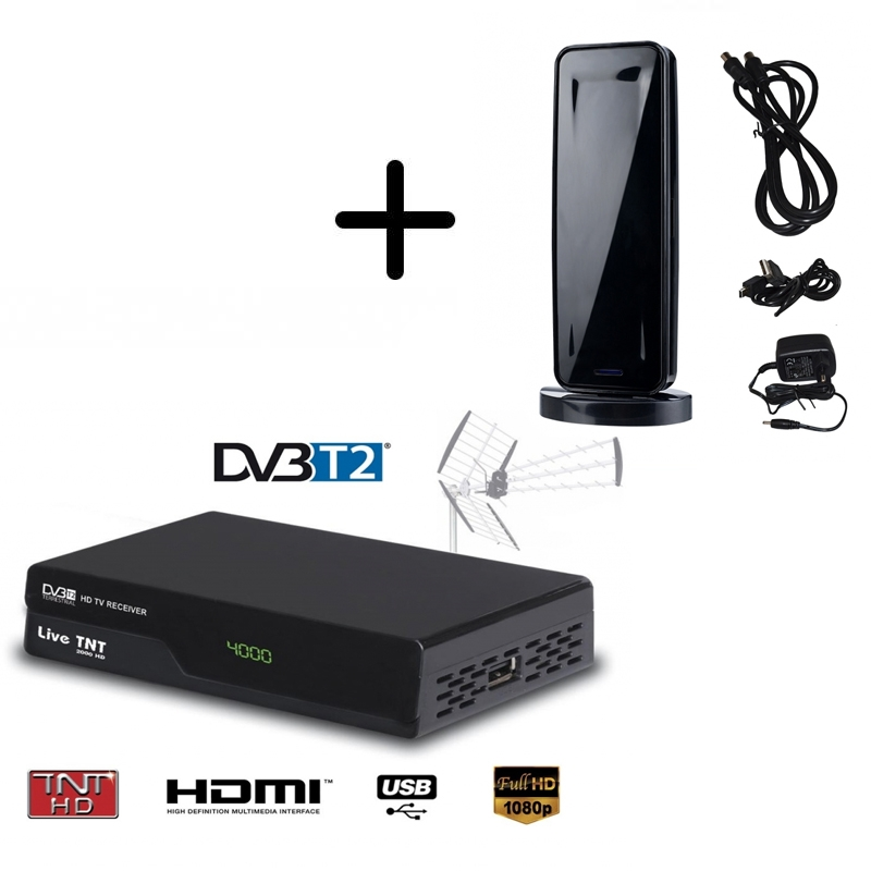 kit terrestre hd d modulateur tnt dvb t2 mini antenne int rieure hd 930t. Black Bedroom Furniture Sets. Home Design Ideas